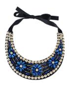 Romwe Blue Beads Flower Collar Necklace
