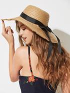 Romwe Bow Band Floppy Straw Hat