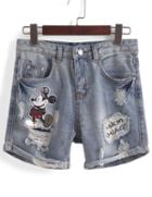 Romwe With Sequined Mickey Ripped Cuffed Denim Shorts
