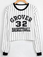 Romwe White Black Vertical Striped Letter Print Sweatshirt