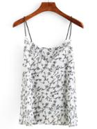 Romwe Flower Print Cami Top