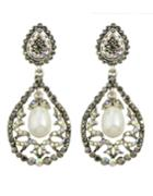 Romwe White Rhinestone Flower Shape Earrings
