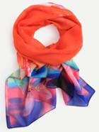 Romwe Orange Flower Print Chiffon Scarf