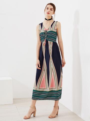 Romwe Aztec Print Beaded Tie Neck Dress