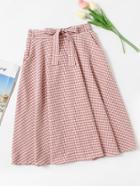 Romwe Checked Self Tie Waist Skirt
