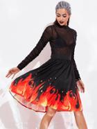 Romwe Halloween Fire Pattern Skirt