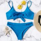 Romwe Knot Front Top With Hollow-out Bikini Set