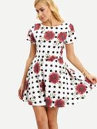 Romwe Flower & Polka Dot Print Dress