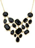 Romwe Black Gemstone Gold Splice Necklace