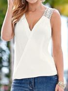 Romwe White Crochet Strap Surplice Top