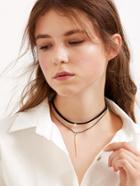 Romwe Black Double Layer Metal Bar Pendant Choker Necklace