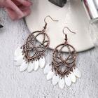 Romwe Hollow Detail Fringe Drop Earrings