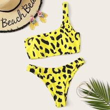 Romwe Leopard Print One Shoulder Bikini Set