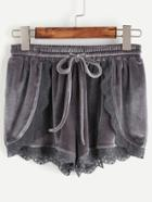 Romwe Grey Lace Trim Drawstring Waist Velvet Wrap Shorts