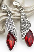 Romwe Red Gemstone Silver Crystal Stud Earrings