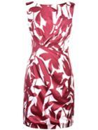Romwe Burgundy Print Pleated Sheath Dress
