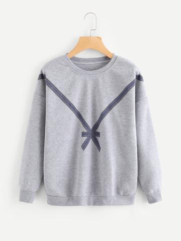 Romwe Bow Print Sweatshirt