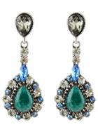 Romwe Green Drop Gemstone Stud Earrings