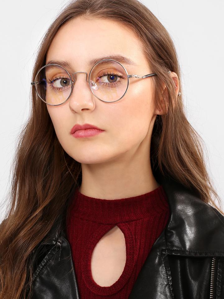 Romwe Round Flat Lens Metal Frame Glasses