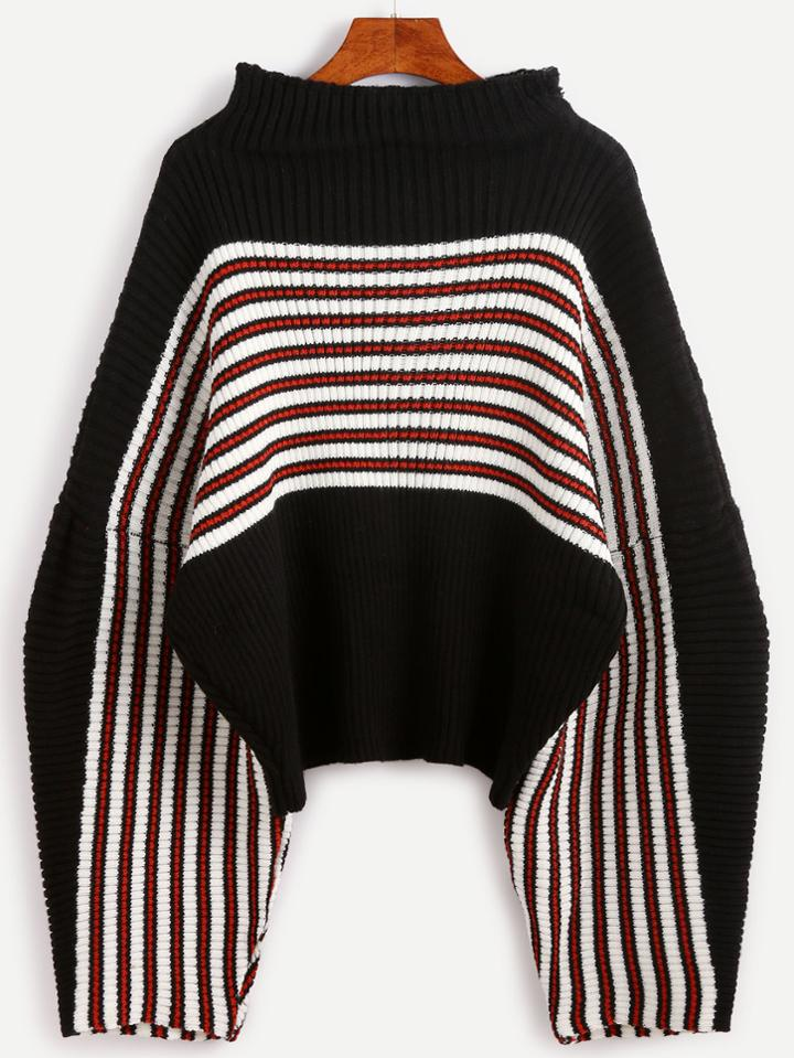 Romwe Black Striped Drop Shoulder Funnel Neck Sweater