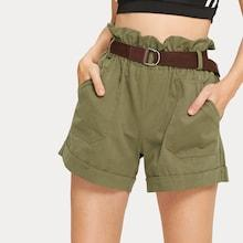 Romwe Solid Belted Ruffle Trim Pocket Detail Shorts