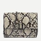Romwe Snakeskin Flap Chain Bag