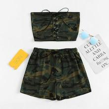 Romwe Lace Up Camo Tube Top With Shorts