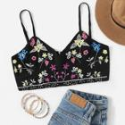 Romwe Floral Embroidery Cami Top