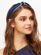 Romwe Navy Contrast Trim Knot Headband