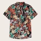 Romwe Guys Button Botanical Print Shirt