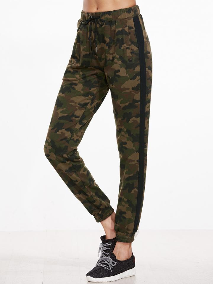 Romwe Camouflage Print Contrast Sideseam Drawstring Sweatpants