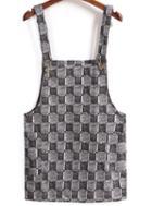 Romwe Strap Plaid Pinafore Dress