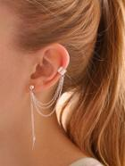 Romwe Chain Thread Earrings With Cuff 1pc