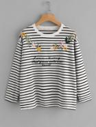 Romwe Drop Shoulder Embroidered Striped Tee