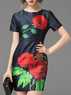 Romwe Navy Crew Neck Rose Print Sheath Dress