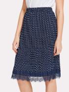 Romwe Lace Hem Polka Dot Pleated Skirt