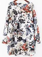 Romwe Ink Flower Print Tshirt Dress