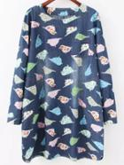 Romwe Bird Print Denim Tshirt Dress