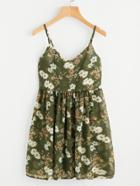 Romwe Botanical Print Pleated Cami Sun Dress