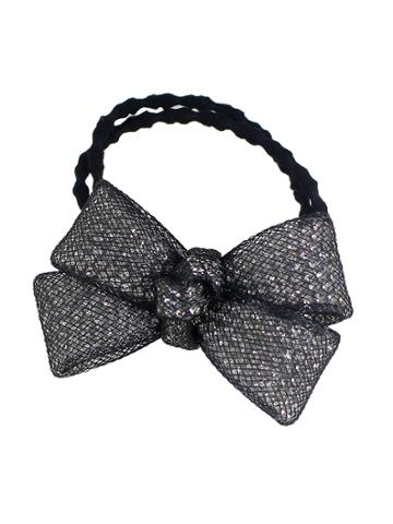 Romwe Black Color Trendy Multicolors Rhinestone Bow Elastic Hair Rope