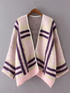 Romwe Pink Contrast Geo Pattern Cardigan Coat