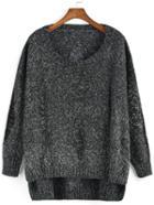 Romwe Ripped High Low Dark Grey Sweater