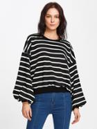 Romwe Drop Shoulder Lantern Sleeve Striped Sweatshirt