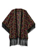 Romwe Ethnic Batwing Tassel Cardigan