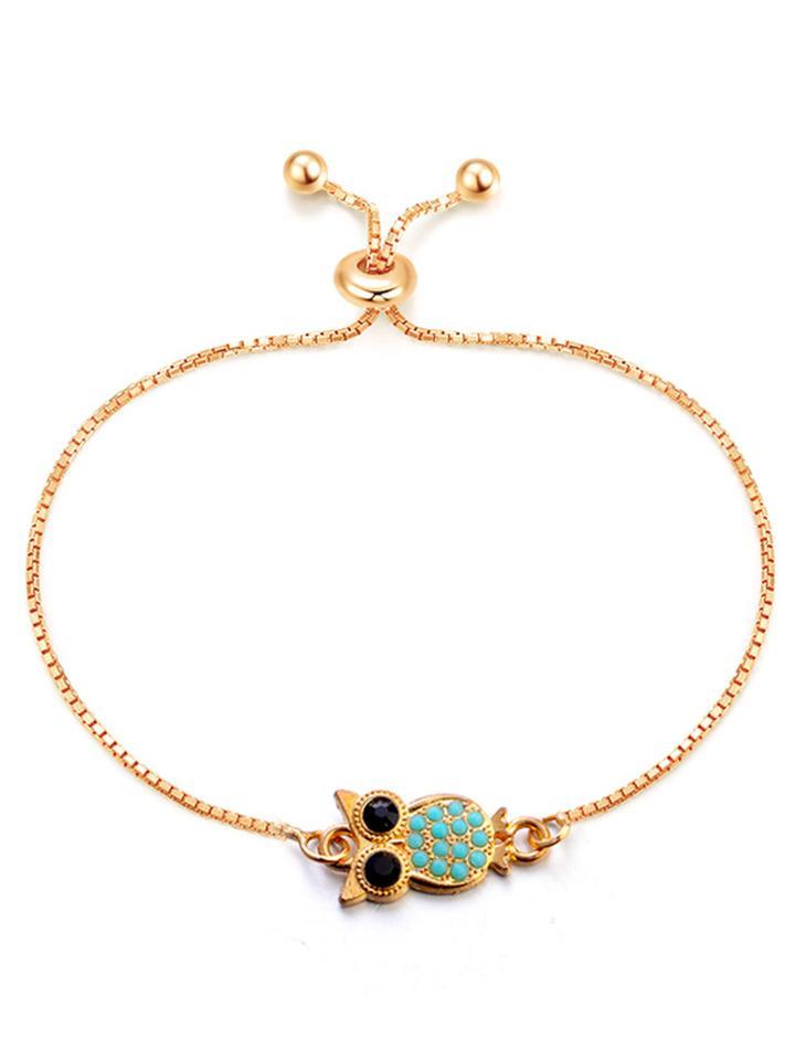Romwe Owl Detail Chain Bracelet