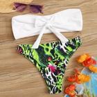 Romwe Tie Front Bandeau With Random Animal Print Bikini