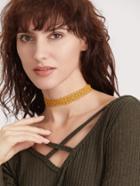 Romwe Yellow Hollow Out Lace Choker Necklace