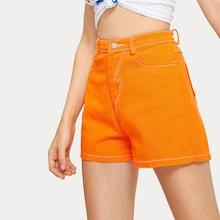 Romwe Neon Orange Pocket Back Denim Shorts