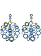 Romwe Blue Circle Hollow Earrings