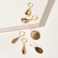 Romwe Shell Decor Hoop Drop Earrings 3pairs